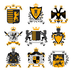 Heraldic Emblems  Black  Golden Icons Collection