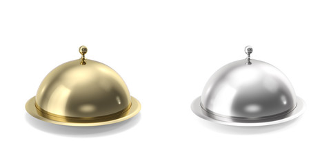 Silver and gold closeed cloche on white background. 3d illustration