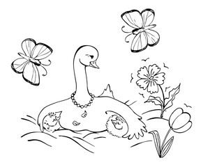 Goose family with mother goose and her two little children. Black and white vector illustration. Coloring book.