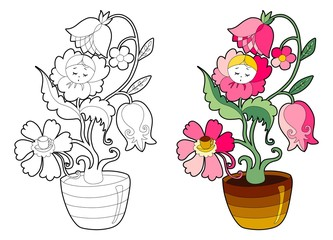 Coloring book with fairy houseplant. Cartoon vector illustration