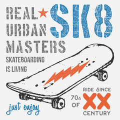 T-shirt typography design, skateboard printing graphics, typographic skateboarding vector illustration, Urban skaters graphic design for label or t-shirt print, Badge, Applique