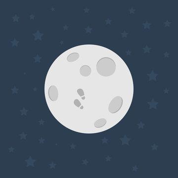 Moon, Flat design illustration