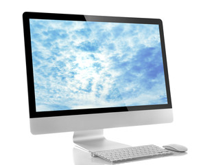 Modern computer isolated on white. Cloud storage concept