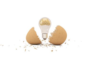 A golden brain  in the light bulb from an egg ,3D illustration.