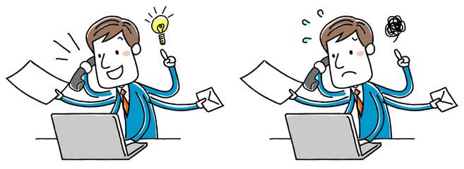 イラスト素材:ビジネスマン 忙しい マルチタスク パソコン バリエーション