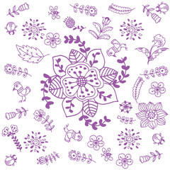Purple flowers doodle art