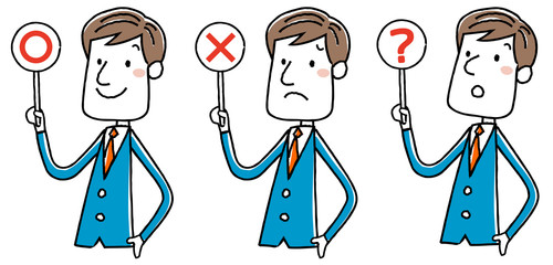 イラスト素材:ビジネスマン 回答 正解と不正解
