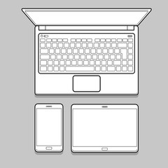 Gadget and device thin line mockup set. Laptop and tablet and phone for identity design. Gadget and device vector illustration.