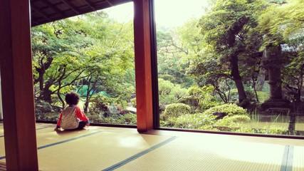 日本庭園を眺める子供