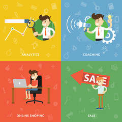Search analytics, training, online shopping and selling flat abstract isolated vector banners