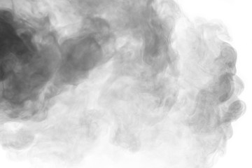 Abstract gray smoke hookah on a white background.