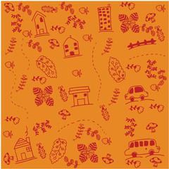Orange backgrounds car doodle art