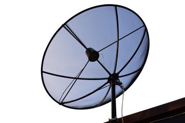 Satellite setting on roof, isolated