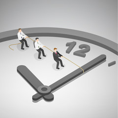 A group of businessman trying to turn back time by pulling on a