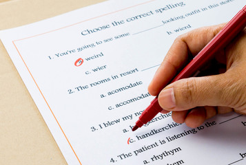 english grammar exercise on table
