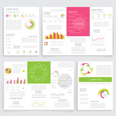 Brochures for business reports, cover layout and infographics