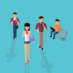 Group of People with Gadgets Design Flat