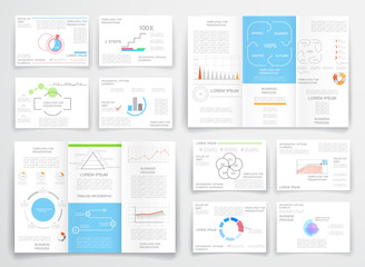 Brochure design for business reports, cover layout and infograph