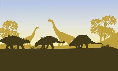 Ankylosaurus silhouette of scenery