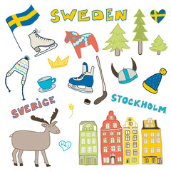 Set of hand drawn doodle icons of Sweden. Vector illustration