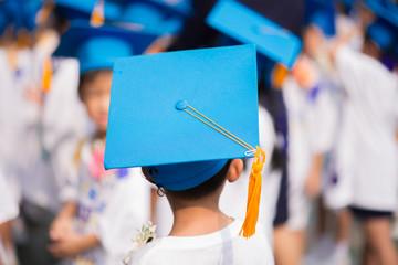 Little boy graduated at kindergarten school