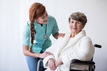 Senior having hospital care