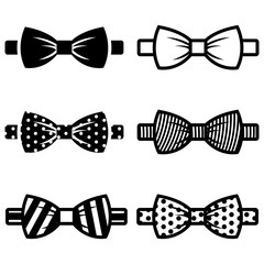 Vector black bow ties icons set