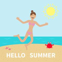 Hello summer. Woman wearing swimsuit jumping.  Sun, beach, sea, ocean, crab, starfish. Happy girl jump. Cartoon laughing character in pink swimming suit. Smiling woman in bikini bathing suit.  Flat