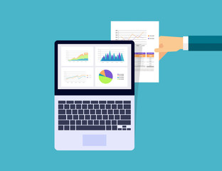 business analytic graph in device with report paper concept .business planning and business investment concept. hand hold paper.