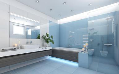 Bright Bathroom In Blue