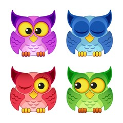 Cute colorful owls isolated on white background