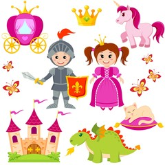Fairytale princess, knight, castle, carriage, unicorn, crown, dragon, cat and butterfly