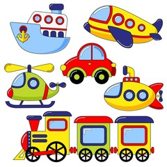 Set of cartoon transport icon. Car, submarine, ship, plane, train, helicopter