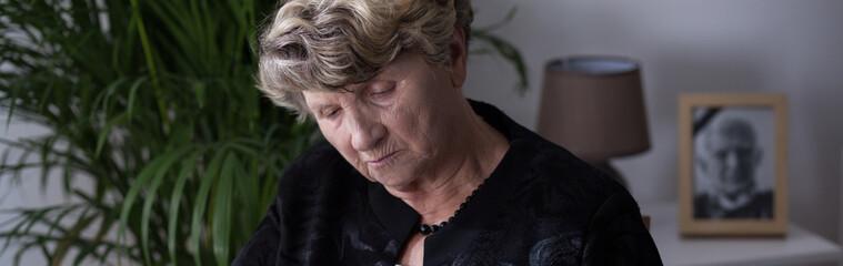 Elderly woman in depression