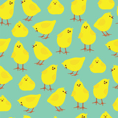 Seamless pattern with funny chickens on a blue background. EPS10 vector illustration.