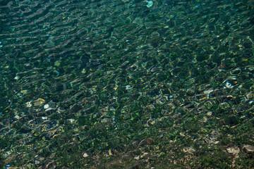 Clear water lake Carezza, Bolzano, Italy