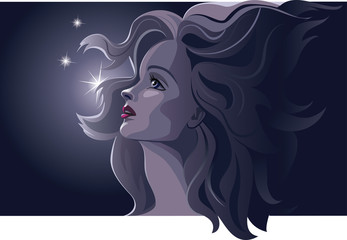 Beautiful romantic woman by night. Blonde, beautiful, profile. Dark blue colors. Vector illustration