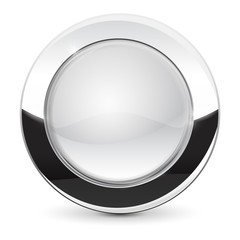 White glass button with metal frame