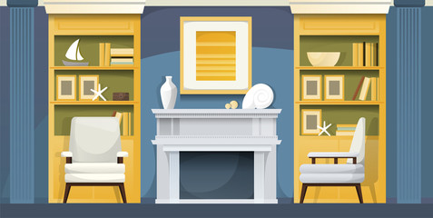 Blue living room with a sea mood