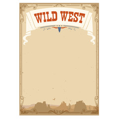 Wild west background for text.Vector illustration