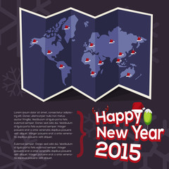world map with point of santa clause hat come with happy new yea