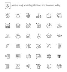 36 linear icons of finance and banking for web and app design