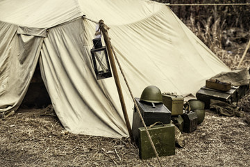 Reconstruction of life and subjects of second world war, military camp