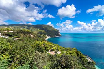 Mount Conero national park coastline in Sirolo, Italy