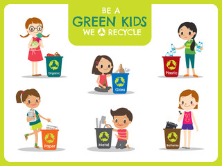 kids segregating trash recycling concept illustration