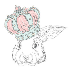 Funny rabbit in the crown. Vector illustration.