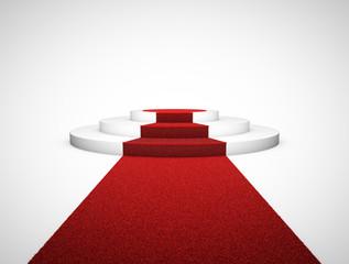 Red carpet and podium