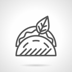 Tacos with leaf black line vector icon