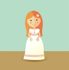First Communion girl with red hair