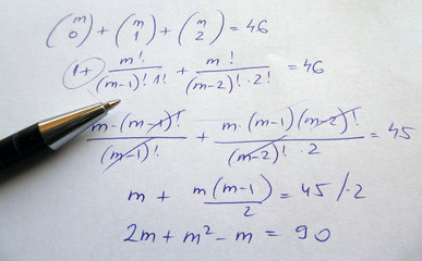 Mathematics calculations with pencil